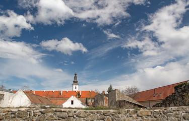 Old city panorama in Pezinok