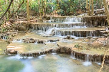 Waterfall in deep tropical Forest in summer , Huay Mae Kamin Wat