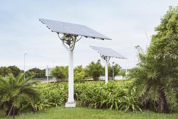 Solar panels in urban park