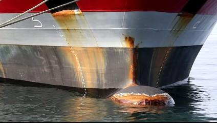 大型タンカーの船首