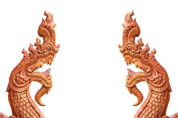 statue head serpent on white background