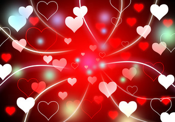 Abstract background with light heart red and colorful flare blan