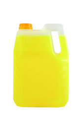 Cleaning products. Detergent plastic bottle isolated on white