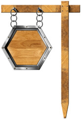 Hexagonal Sign with Chain and Pole
