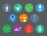 set of traditional craftsmanships/arts flat design icons poster