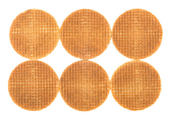 Six round wafers placed near