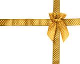 Shiny Ribbon gold (bow) gird box frame isolated on white backgro poster