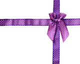 Shiny Ribbon purple (bow) gird box frame isolated on white backg poster