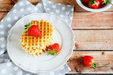 crispy waffles and strawberry summer
