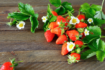 ripe strawberries, flowers and leaves