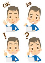 表情 ノートパソコンを使う男性