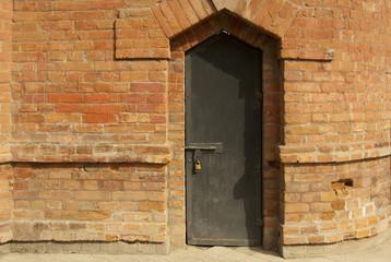 Closed and Padlocked Wooden Door