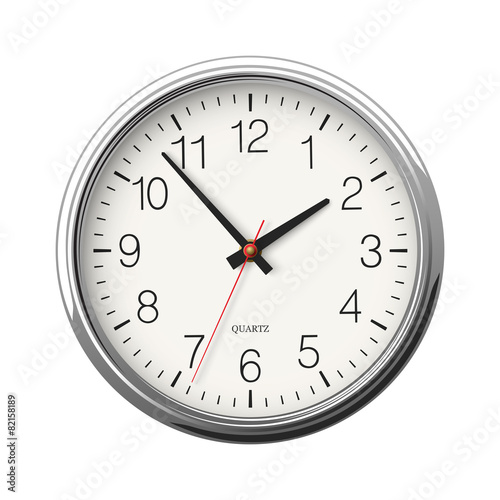 Classic round wall clock with metallic glossy body isolated - 82158189