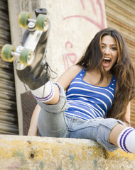 Middle Eastern woman wearing roller skates
