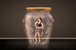 Businesswoman inside a glass jar with lightning drawings concept