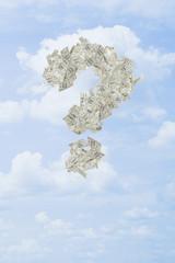 Illustration of dollar bills making question mark in sky