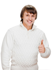 Young man showing a thumbs up