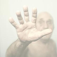 Close up of Caucasian man's hand