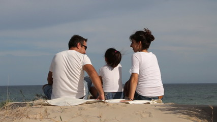 Family On The Beach Looking The Sea
