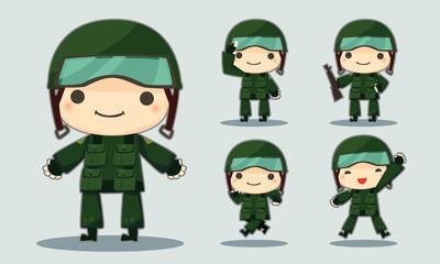 cartoon soldier set various poses