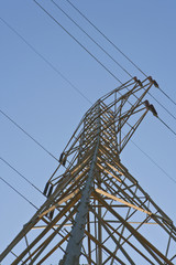 Low Angle View Of Power Pylon