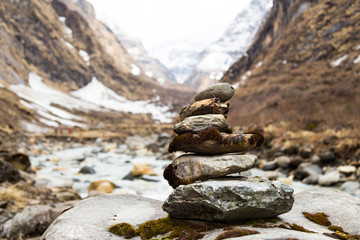 Zen rock arrangement along trail to mountains of Nepal