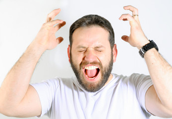 Man shouting much angry.