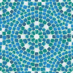 Seamless mosaic pattern - Blue ceramic tile - classical geometri