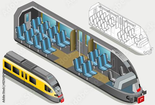 Isometric High Speed Subway Longitudinal Section - 82164943