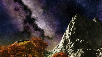 Time lapse purple night sky stars over mountain and trees