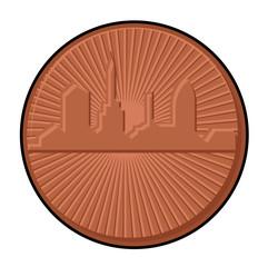 Retro Skyscraper Coin Vector