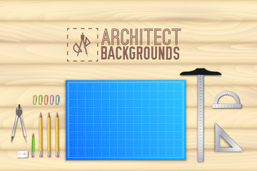 Architect wood table project with professional equipment