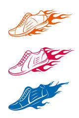 Running shoe icons with speed fire trails