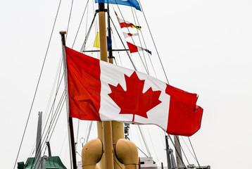 Canadian Flag on Old Ship