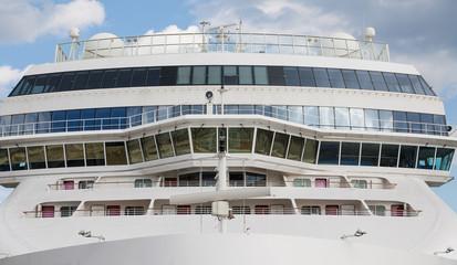 Front of Massive White Luxury Cruise Ship
