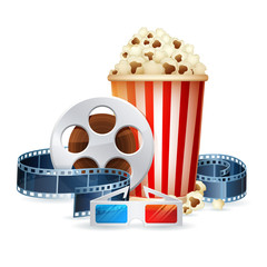 Cinema and movie realistic objects isolated on white