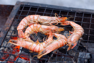 Shrimps on charcoal grill