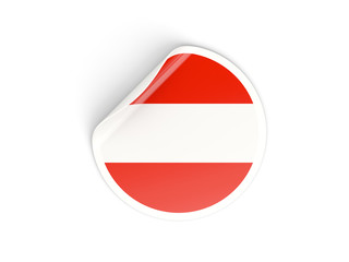 Round sticker with flag of austria