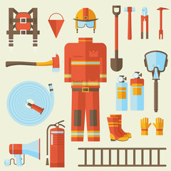 firefighter uniform and first help equipment and instruments. On