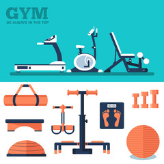 Fitness sport gym exercise equipment workout flat set concept