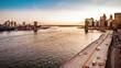 Brooklyn Bridge, boats sailing East River and FDR drive traffic