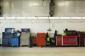 Tool Chests In An Automobile Repair Shop