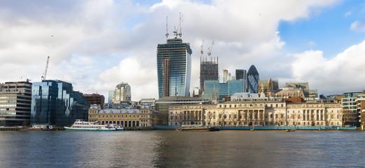 London skyline on waterfront, London, United Kingdom