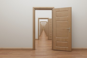 Enfilade, open the door inside. Frame for stop motion animation.