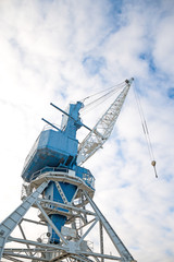 Harbor crane on rails. Perspective view.
