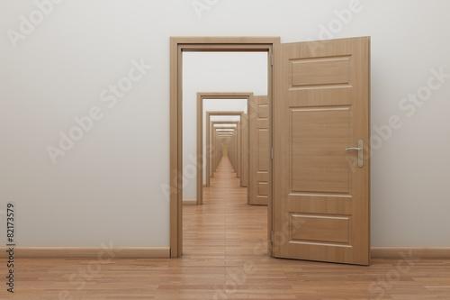 Foto op Plexiglas Trappen Enfilade, open the door inside. Frame for stop motion animation.