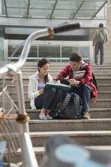 Chinese students talking on campus
