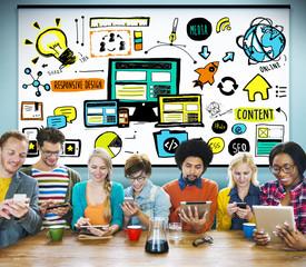 Responsive Design Quality Content Share Online Concept