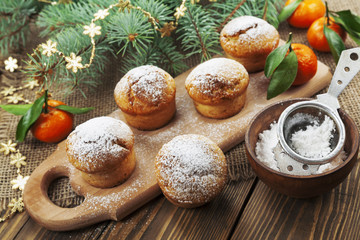Muffins with sugar powder