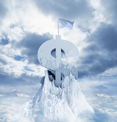 Dollar sign on snowy mountaintop